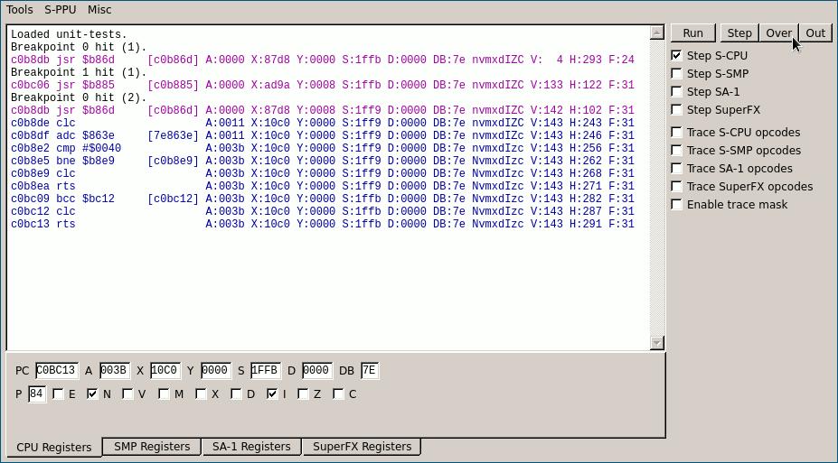 Debugging a SNES Game Engine